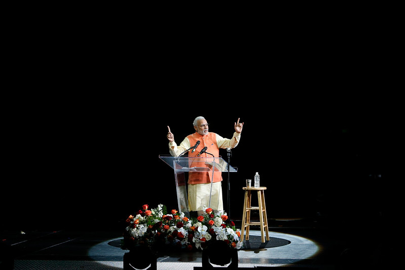 . Prime Minister Narendra Modi of India gives a speech during a reception by the Indian community in honor of his visit to the United States at Madison Square Garden, Sunday, Sept. 28, 2014, in New York. (AP Photo/Jason DeCrow)