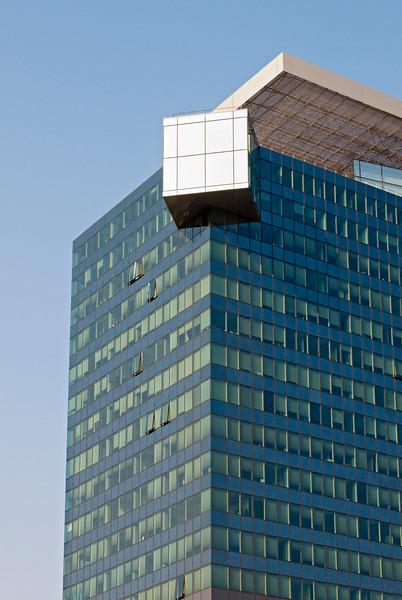 Detail of Facade of Saturn Tower Office Building by Architects Heinz Neumann and Hans Hollein at Donau City (Vienna DC or Donaustadt), Wien, Austria