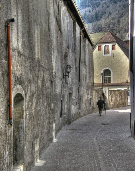Man with walking-stick - Vipiteno, Bozen, Italy - April 14, 2010