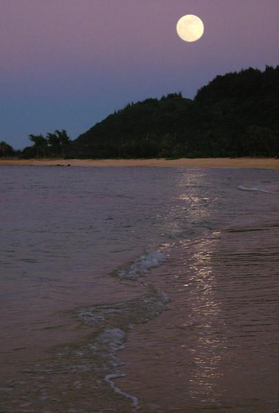 Full Moon rising over Kaunala Beach on the North Shore of O'ahu, Hawai'i  April 6, 2011