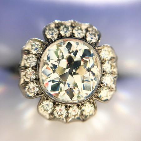 2.67ct Antique Cushion Cut Diamond in Iris Halo, by Erika Winters