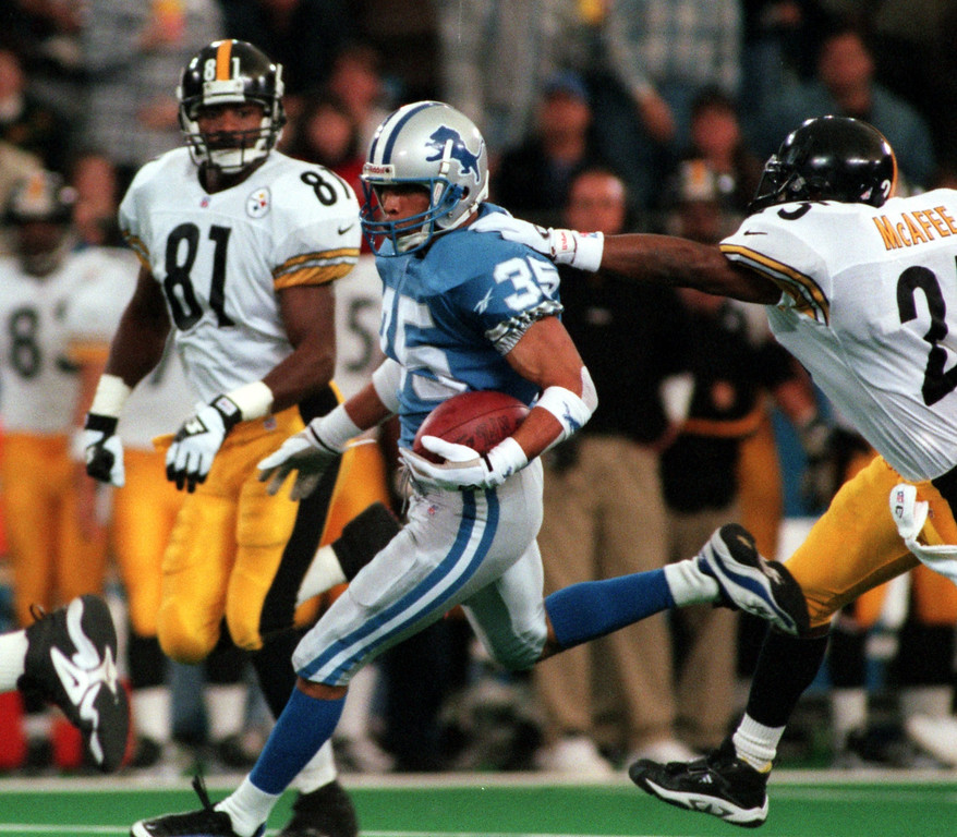 . Detroit Lions Robert Bailey runs with what appeared to be an interception off of Pittsburgh\'s Courtney Hawkins chest but was later ruled an incomplete pass. The Lions beat the Steelers 19-16 in overtime at the Pontiac Silverdome Thursday.