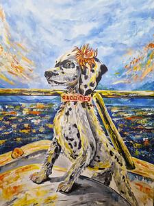 """""""My marine companion"""" (oil and acrylic on canvas) by Liliia Buntseva"""