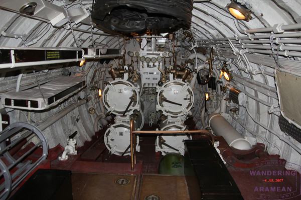 Exploring the torpedo room of the Lembit