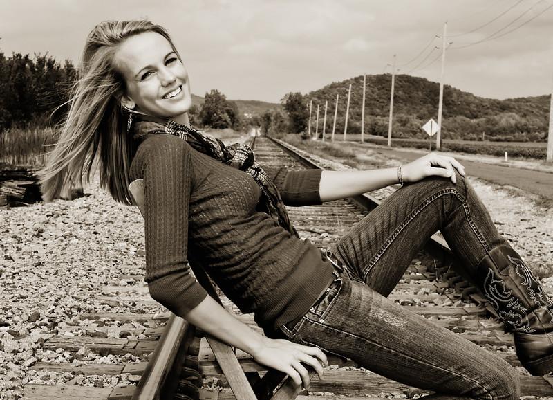 008c Shanna McCoy Senior Shoot - Train Tracks (nik b&w part desat) rotated phototone.jpg
