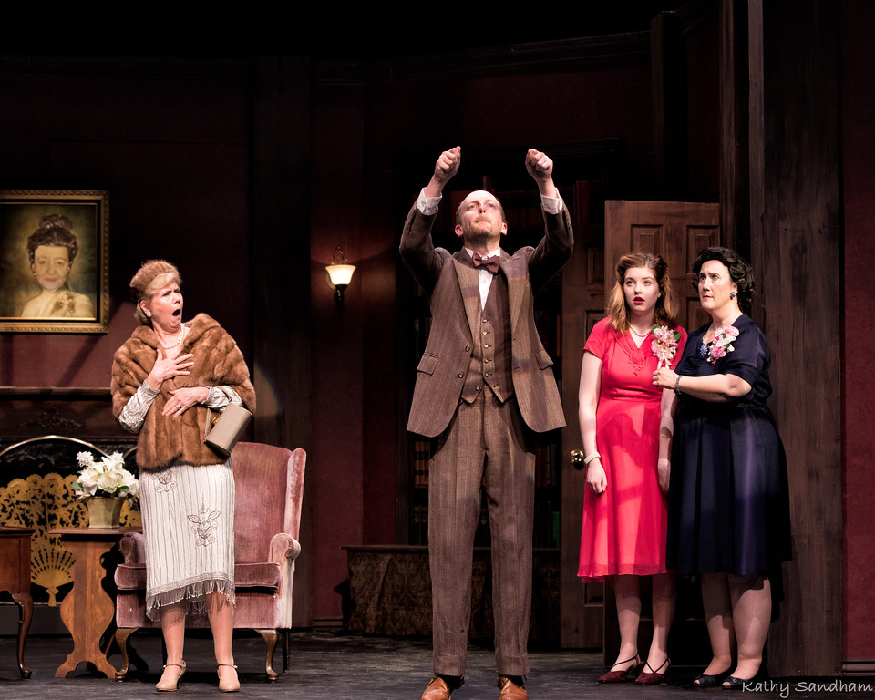 . Ingrid Balstad, left, Brendan Sandham, Caroline Turner and Sandy Kosovich Peck as Veta Louis Simmons perform a scene in the Rabbit Run Theater production of �Harvey.� The show continues through June 16. For more information, visit rabbitrunonline.org.  (Kathy Sandham)