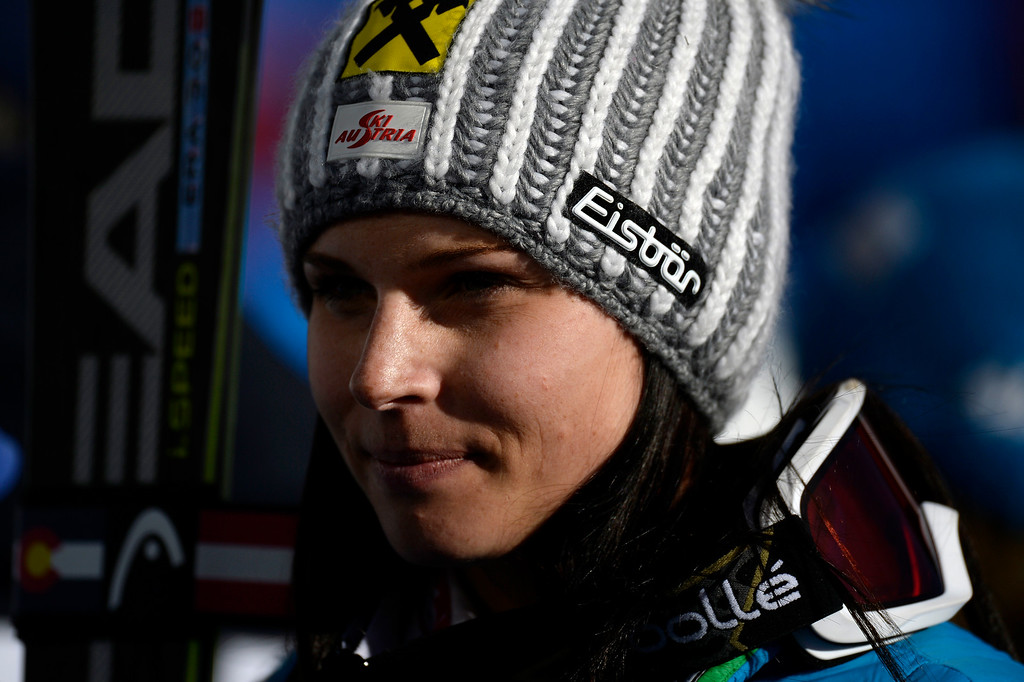 . BEAVER CREEK, CO - FEBRUARY 12: Anna Fenninger of Austria gives an interview after her win during the ladies\' giant slalom. FIS Alpine World Ski Championships 2015 on Thursday, February 12, 2015. (Photo by AAron Ontiveroz/The Denver Post)
