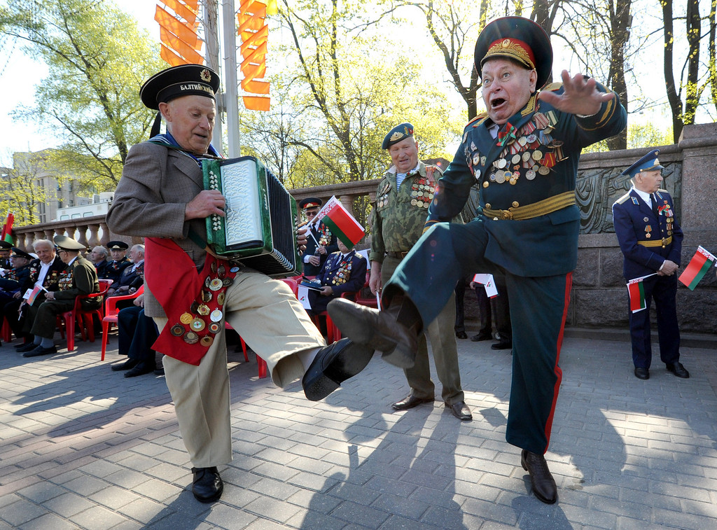. Belarus Warld War II veterans dance during Victory Day celebration in Minsk, on May 9, 2013. Belarus as well as the other former Soviet republics celebrates the 1945 victory over Nazi Germany on May 9, the date of the Nazis\' capitulation to the Soviet Union, which took place in the evening on May 8, 1945 (May 9 by Moscow Time), following the original capitulation Germany agreed earlier to the joint Allied forces on the Western Front. VIKTOR DRACHEV/AFP/Getty Images