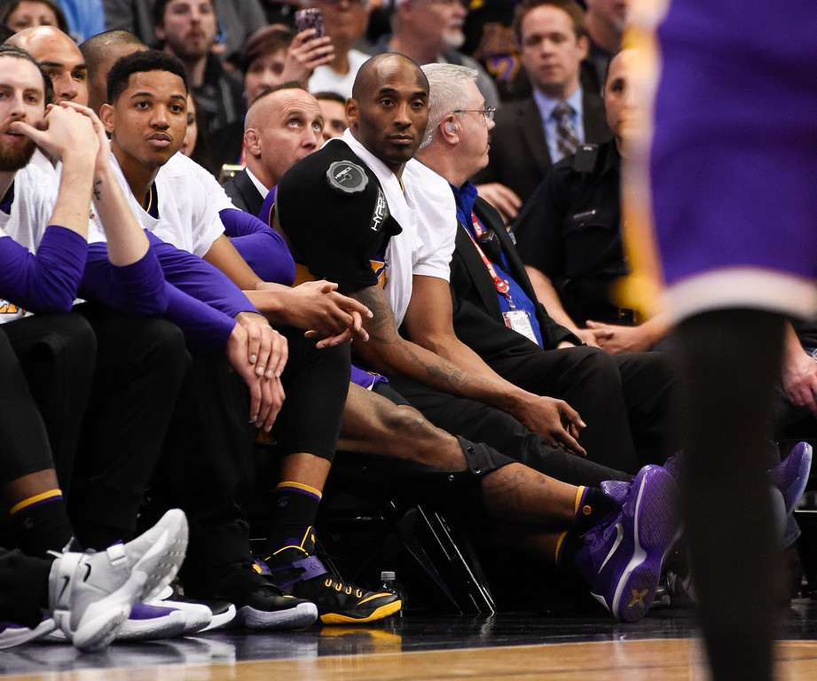 . DENVER, CO - MARCH 02: Los Angeles Lakers forward Kobe Bryant (24) sits on the bench during the second half of their game agains the Denver Nuggets March 2, 2016 at Pepsi Center. (Photo By John Leyba/The Denver Post)