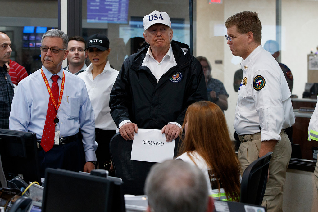 . President Donald Trump tours the Texas Department of Public Safety Emergency Operations Center, Tuesday, Aug. 29, 2017, in Austin, Texas. (AP Photo/Evan Vucci)