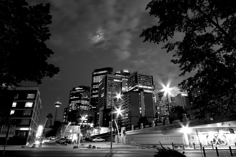 Looking south near the intersection of the Bow river and Center St (monochromed)