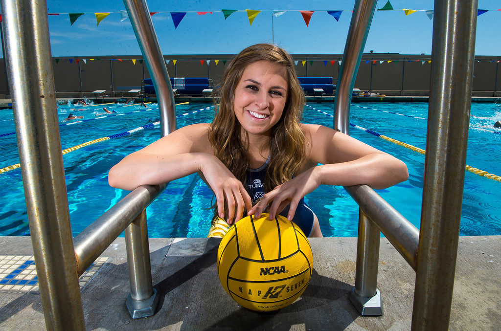 . Kristen Jensen of Los Osos High School, is the Player of the Year and has been named to the Daily Bulletin\'s All-Valley Girl\'s water polo team. Photo by Frank Perez, for the Daily Bulletin.
