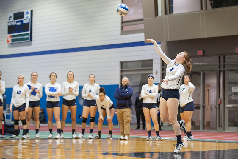 WSU in volleyball action vs Framingham State, October, 2018