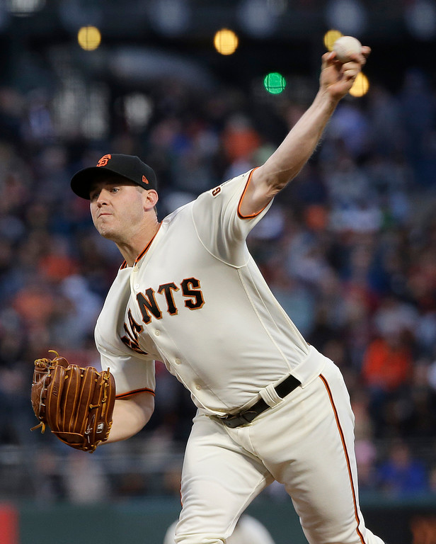 . San Francisco Giants pitcher Ty Blach throws against the Cleveland Indians during the fourth inning of a baseball game in San Francisco, Tuesday, July 18, 2017. (AP Photo/Jeff Chiu)