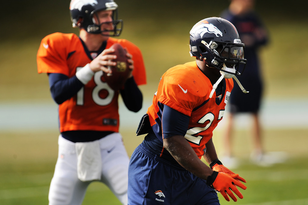 . Denver Broncos running back Knowshon Moreno #27 lines up for a pass during Broncos practice for their coming game against the Tampa Bay Buccaneers at Dove Valley in Denver Colorado Wednesday, November 28,  2012.    Joe Amon, The Denver Post