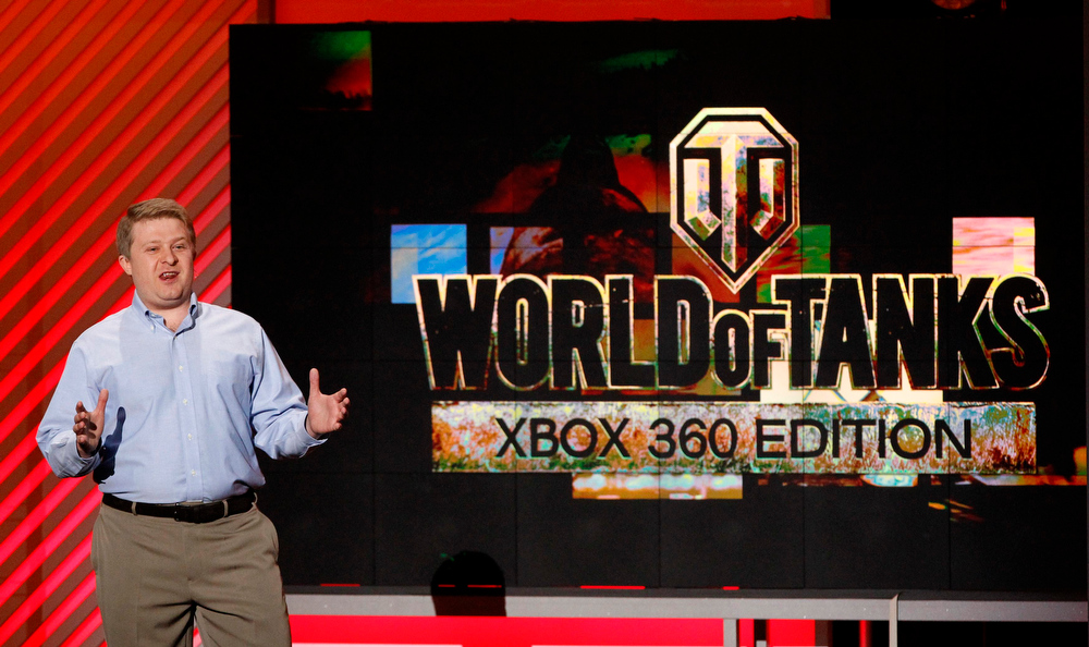 """. Victor Kislyi, CEO of Wargaming, announces \""""World of Tanks\"""" for Xbox 360 during the Xbox E3 Media Briefing at USC\'s Galen Center in Los Angeles, California June 10, 2013.  REUTERS/Mario Anzuoni"""