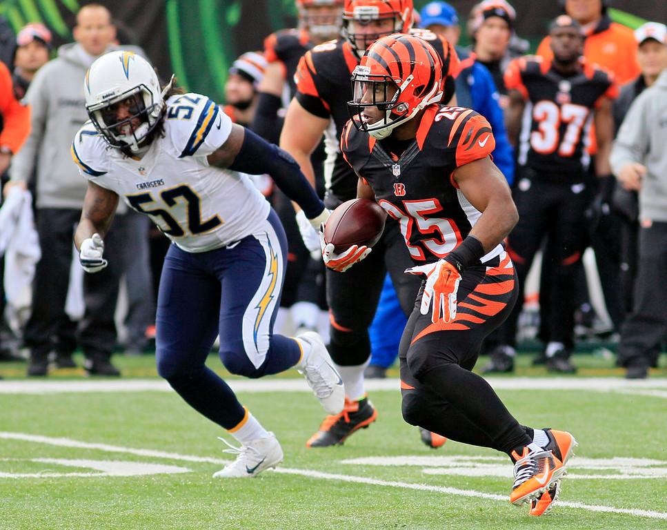 . Cincinnati Bengals running back Giovani Bernard (25) runs against San Diego Chargers linebacker Reggie Walker (52) in the first half of an NFL wild-card playoff football game on Sunday, Jan. 5, 2014, in Cincinnati. (AP Photo/Tom Uhlman)