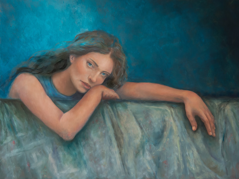 """Are you blue too?"" (oil on Belgium linen) by Suzanne Johnson"