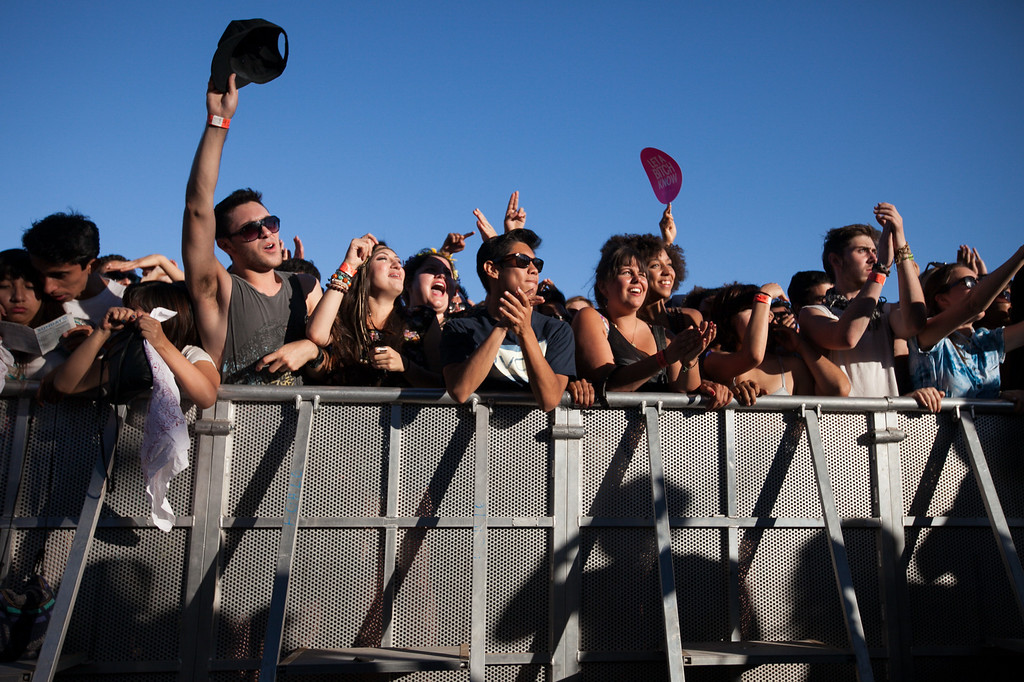 . The crowd cheers Toro Y Moi at the FYF Fest in downtown L.A., Saturday, August 24, 2013. (Michael Owen Baker/L.A. Daily News)