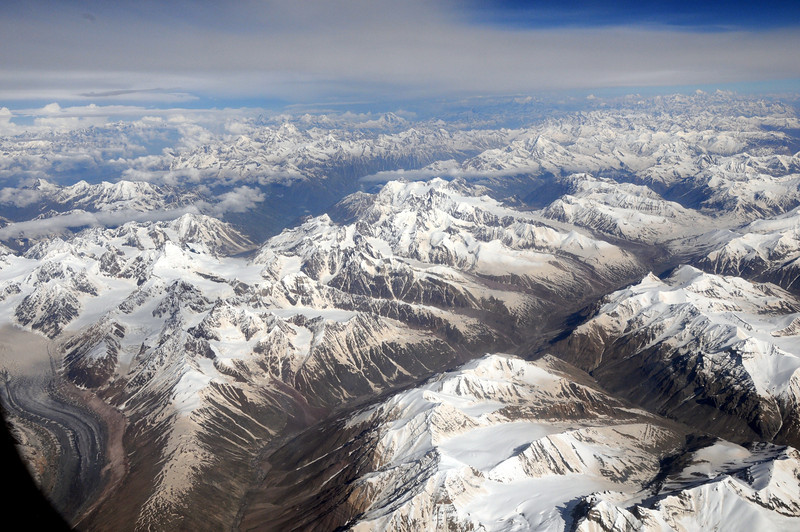 The flight over the Himalayas from Delhi to Leh, Ladakh.