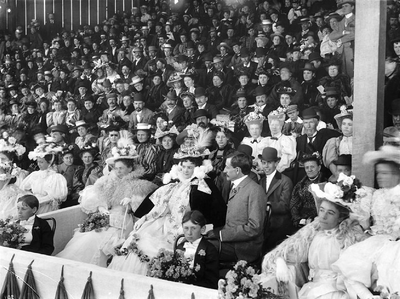 Large crowd of people sitting and watching the Fiesta de Los Angeles, 1896