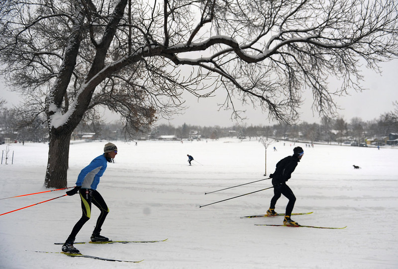 . Skiers take advantage of the freshly fallen snow to skate ski at North Boulder Park in Boulder, Co.  A big winter storm hit the metro area leaving well over 6 inches of snow and bringing with it wind and cold temperatures in Boulder, Co on February 24, 2013.    (Photo by Helen H. Richardson/ The Denver Post)