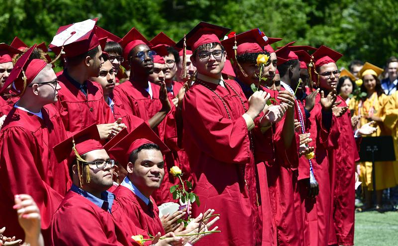 6/15/2019 Mike Orazzi   Staff New Britain High School graduates during Saturday's graduation ceremony at Veterans' Memorial Stadium.
