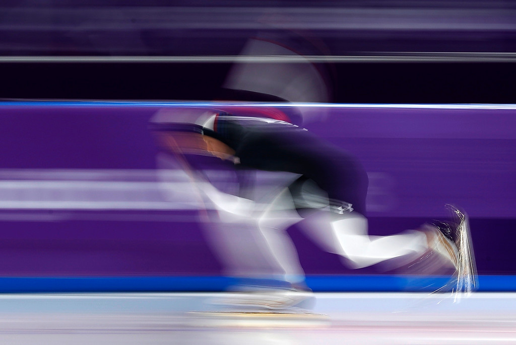 . Brittany Bowe of the U.S. competes during the women\'s 1,000 meters speedskating race at the Gangneung Oval at the 2018 Winter Olympics in Gangneung, South Korea, Wednesday, Feb. 14, 2018. (AP Photo/John Locher)