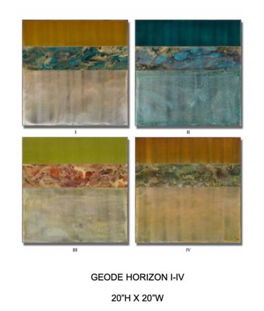 Geode Horizon I-IV by Hollack, paintings on metal
