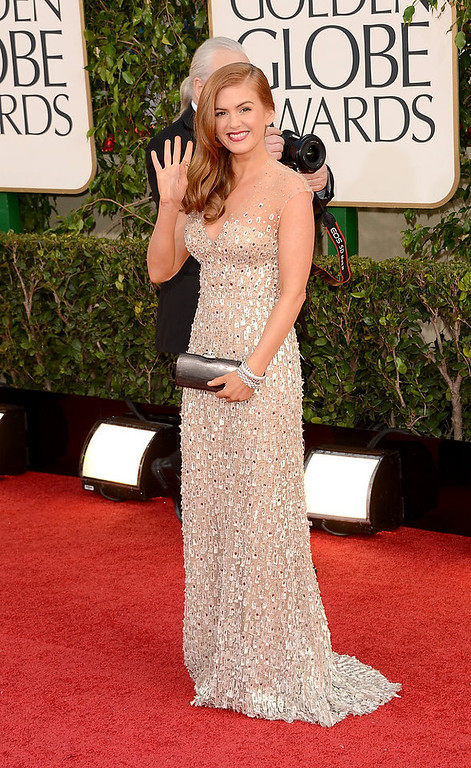 . Actress Isla Fisher arrives at the 70th Annual Golden Globe Awards held at The Beverly Hilton Hotel on January 13, 2013 in Beverly Hills, California.  (Photo by Jason Merritt/Getty Images)