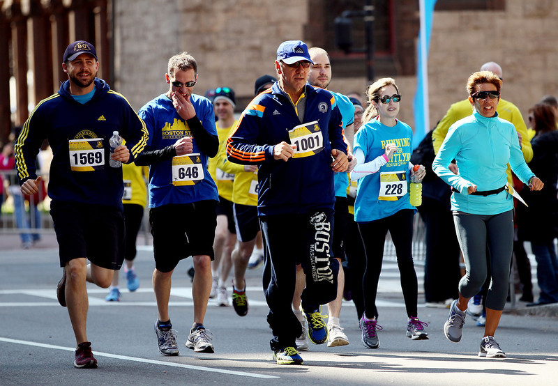 . Actor Kevin Spacey participates in the B.A.A. Tribute Run on April 19, 2014 in Boston, Massachusetts.  (Photo by Alex Trautwig/Getty Images)