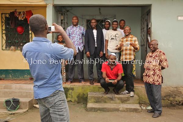 CAMEROON,  Douala. Beth Yehourun Jewish community members (2.2014)