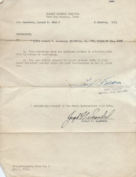 "Discharge from the Army Co. ""B"", 503rd MP Bn., FSHT Oct 5 1943"
