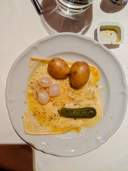 Swiss Raclette for dinner.  Swiss cheese melted with potatoes, onions and a pickle.  Surprisingly tasty.