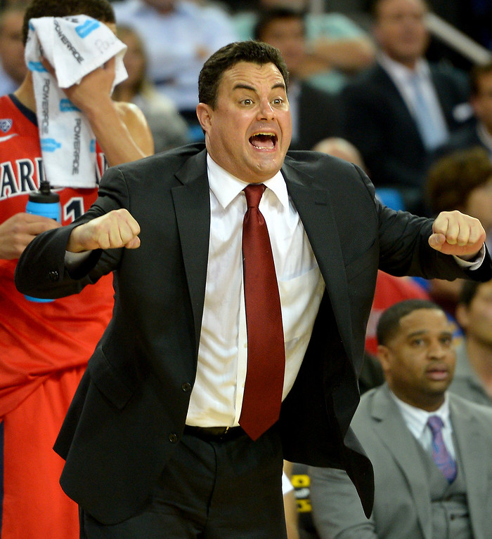 . Arizona coach Sean Miller gives instruction to his team, Thursday, January 9, 2014, at Pauley Pavilion. (Photo by Michael Owen Baker/L.A. Daily News)