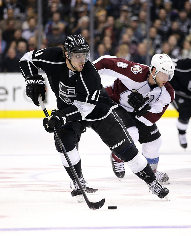. Los Angeles Kings\' Anze Kopitar, front, of Slovenia, skates past Colorado Avalanche\'s Jan Hejda, of the Czech Republic, during the second period of an NHL hockey game on Saturday, Nov. 23, 2013, in Los Angeles.(AP Photo/Jae C. Hong)