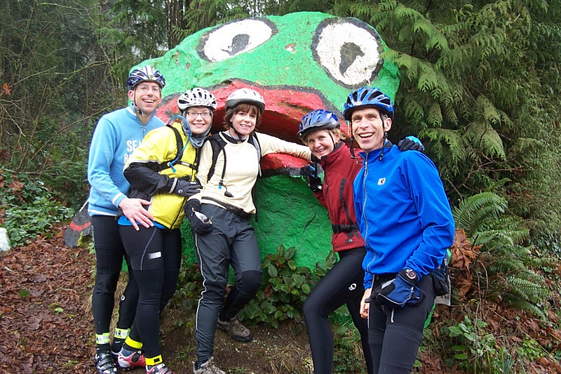 Random photo of me, Peter, Maggie, Susan and Shawn, when we all did the Chilly Hilly bike ride in February.
