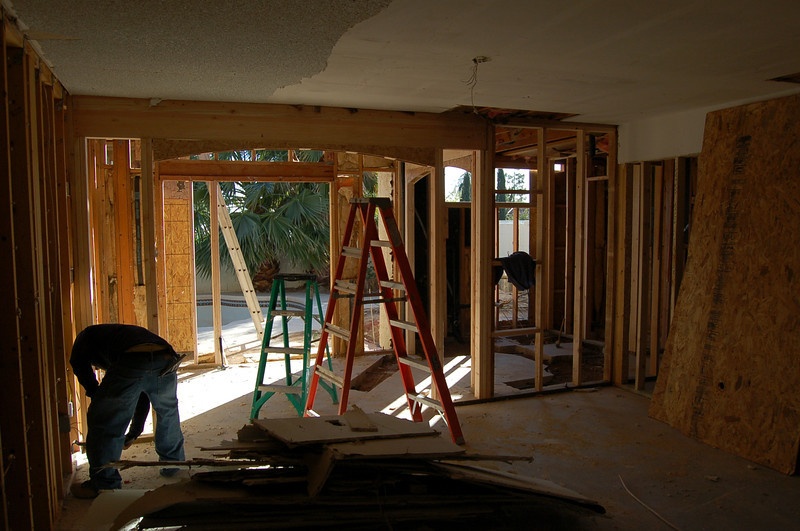 The master bedroom, looking toward the back yard and pool.