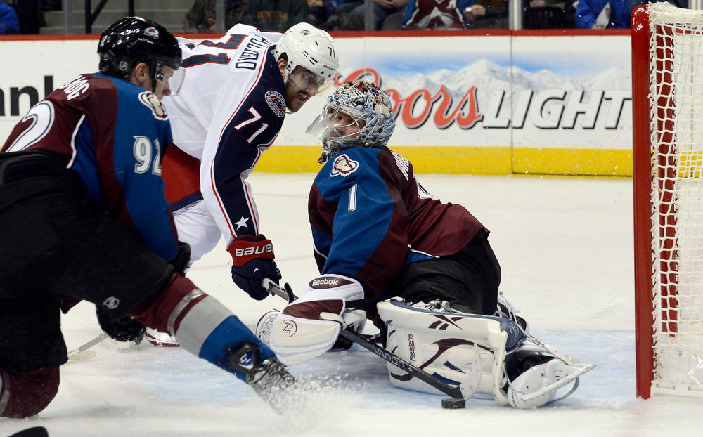 . DENVER, CO. - JANUARY 24: Colorado Avalanche goalie Semyon Varlamov (1) makes a save on a shot by Columbus Blue Jackets left wing Nick Foligno (71) during the second perio january 24, 2013 at Pepsi Center. The Colorado Avalanche take on the  Columbus Blue Jackets in NHL action.  (Photo By John Leyba / The Denver Post)