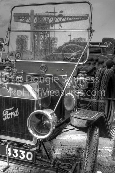 'Model T' - B&W<br /> 29 January 2012<br /> At the starting point (Clydebank College next to the Titan Crane) for the Monte Carlo Classic Rally.<br /> Clydebank, Scotland