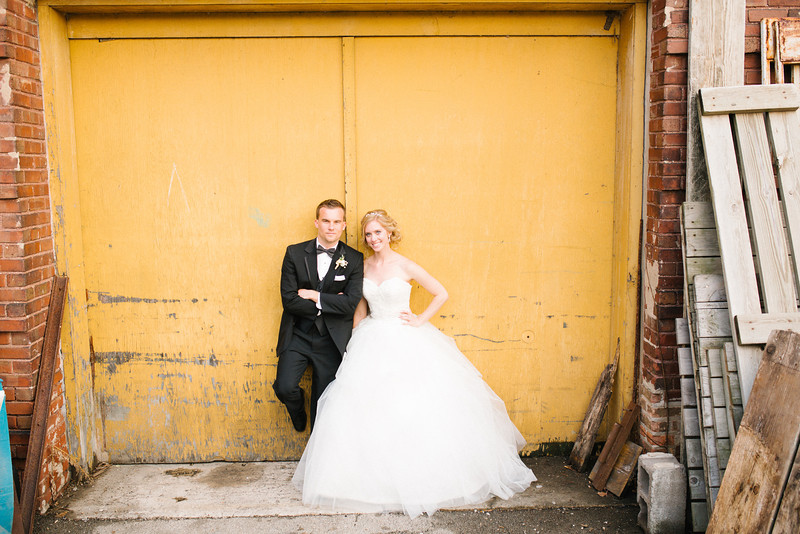 Newlywed portrait session in downtown Rockford near the Prairie St. Brewhouse. Wedding photographer – Ryan Davis Photography – Rockford, Illinois.