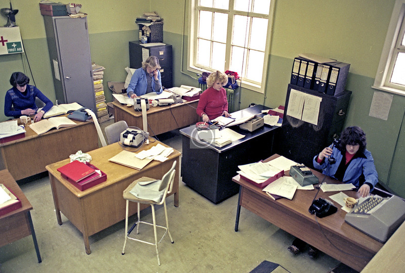 Ashtrays, adding machines, black GPO telephones – and not a computer anywhere.