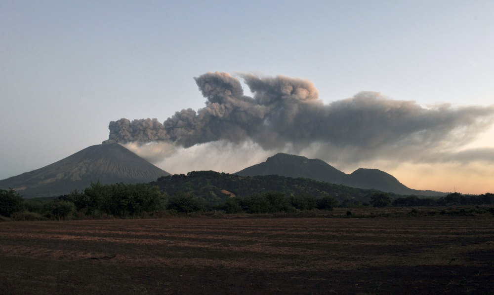 Description of . View of the San Cristobal volcano from Chinandega, 150 km from Managua, on December 26, 2012. The San Cristobal volcano began spewing smoke and ashes Tuesday afternoon. HECTOR RETAMAL/AFP/Getty Images