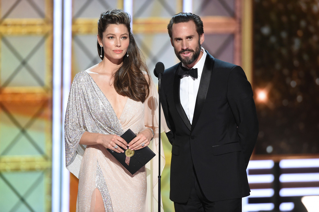 . Jessica Biel, left, and Joseph Fiennes present the award for outstanding lead actor in a limited series or a movie at the 69th Primetime Emmy Awards on Sunday, Sept. 17, 2017, at the Microsoft Theater in Los Angeles. (Photo by Phil McCarten/Invision for the Television Academy/AP Images)