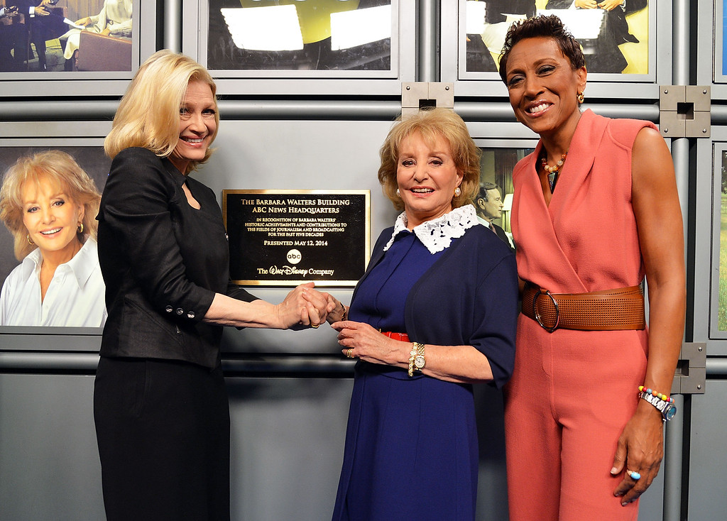 ". NEW YORK, NY - MAY 12:  (L-R) ABC News anchor Diane Sawyer, Barbara Walters and ABC\'s ""Good Morning America\"" anchor Robin Roberts attend  the dedication ceremony as ABC News headquarters in New York is proclaimed \""The Barbara Walters Building\"" ABC News Headquarters Dedication Ceremony on May 12, 2014 in New York City.  (Photo by Slaven Vlasic/Getty Images)"