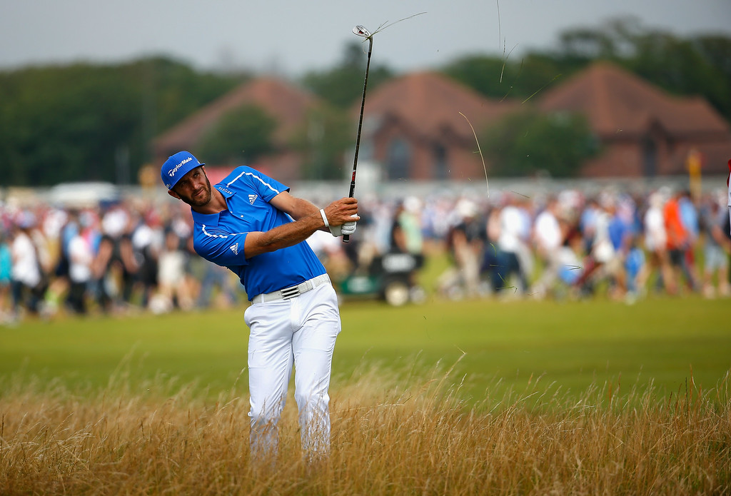 . Dustin Johnson of the United States hits from the rough during the final round of The 143rd Open Championship at Royal Liverpool on July 20, 2014 in Hoylake, England.  (Photo by Tom Pennington/Getty Images)