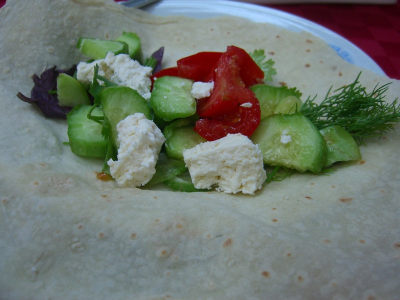 Fresh Vegetables in Flatbread - Baku, Azerbaijan