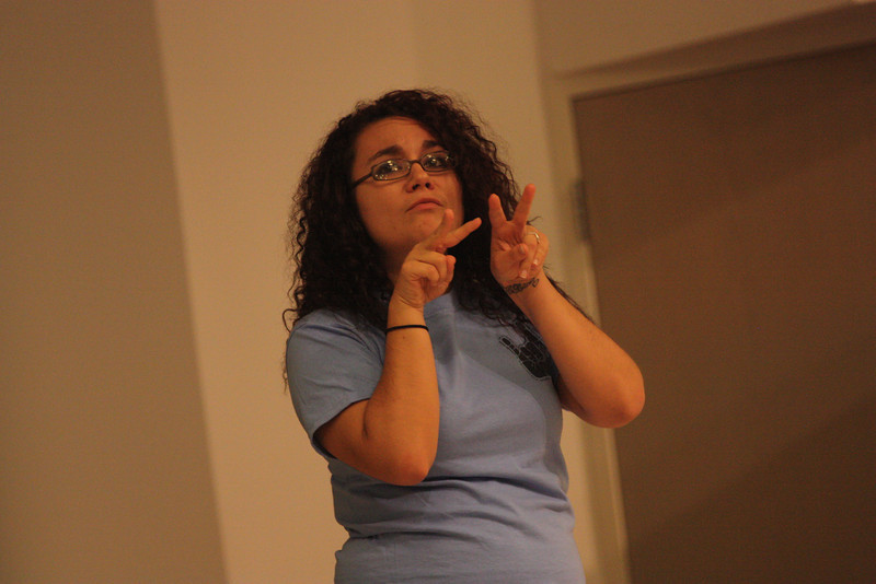 Roxy Bucur performs her senior poem during Deaf Performance Night