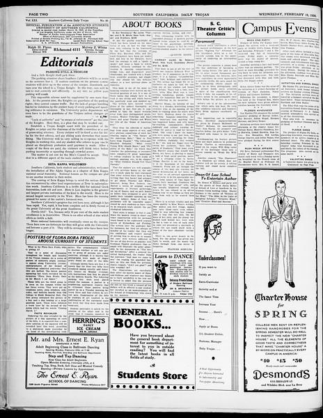 Southern California Daily Trojan, Vol. 21, No. 85, February 19, 1930