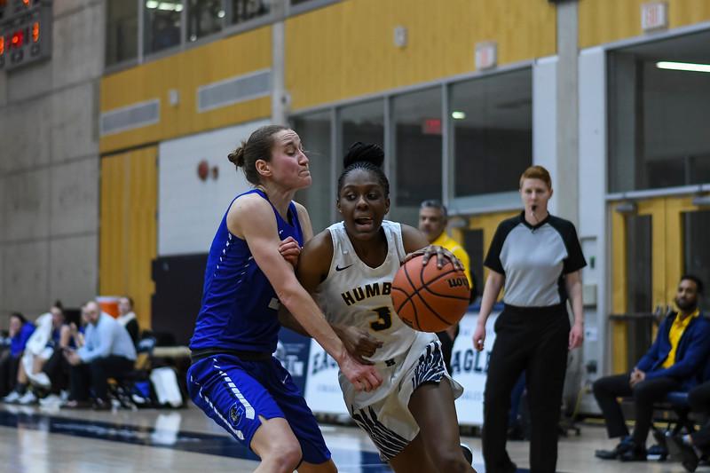 TORONTO, CANADA - Feb 22: during OCAA Women's Basketball Playoffs Crossover Game at University of Toronto. Photo: Michael Fayehun/F10 Sports Photography